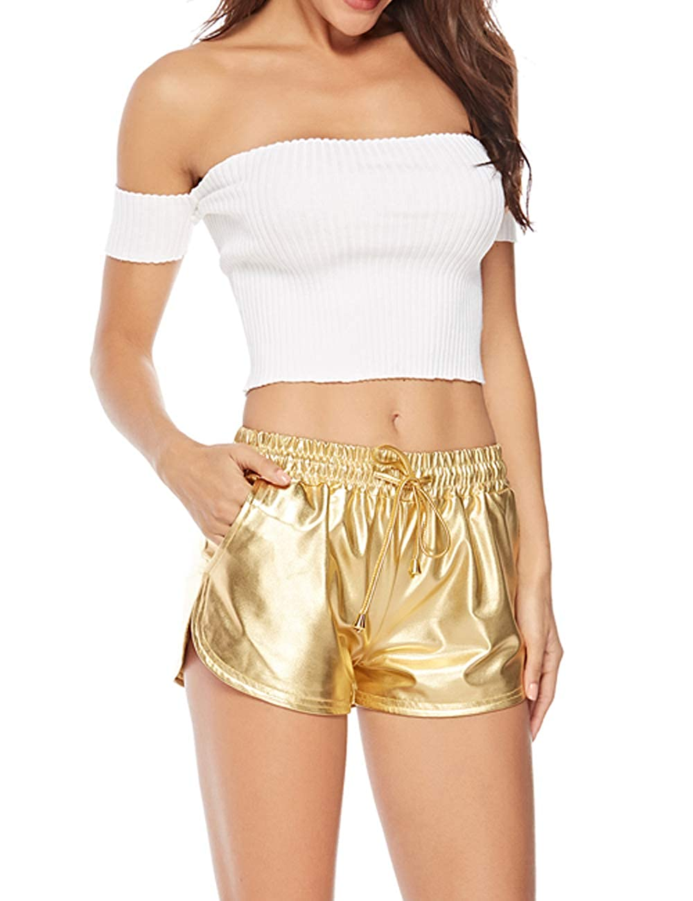 Alsol Lamesa Womens Yoga Hot Shorts Shiny Metallic Pants with Elastic Drawstring