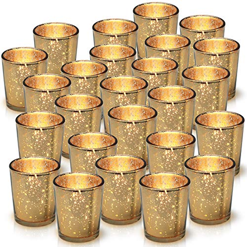 Granrosi Gold Mercury Votive Candle Holder Set of 25 - Made of Mercury Glass with A Speckled Gold Finish - Adds The Perfect Ambience to Your Wedding Decorations Or Home Decor