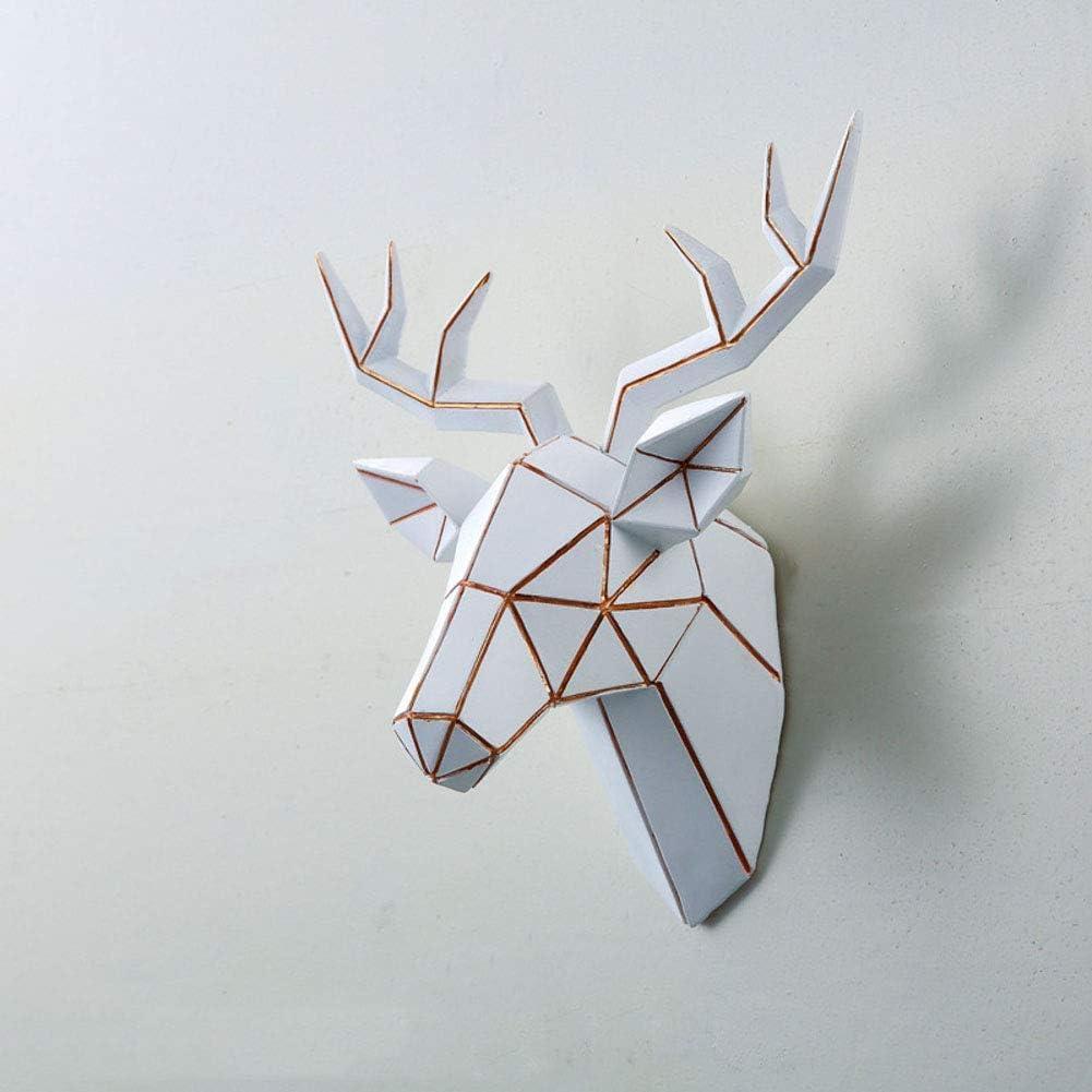 Barm Animal Head Wall Decor, Deer Head Resin Sculpture Geometric Ornament Fake Taxidermy Wall Mount Decoration-White 14x24x26cm (6x9x10inch)