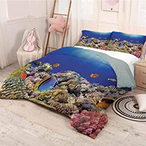 Ocean Decor Collection Extra large quilt cover Wild Sea Life Colorful Ancient Coral Reefs and Exotic Fishes Bali Indonesia Picture Can be used as a quilt cover-lightweight (Queen)Navy Blue Orange Oli
