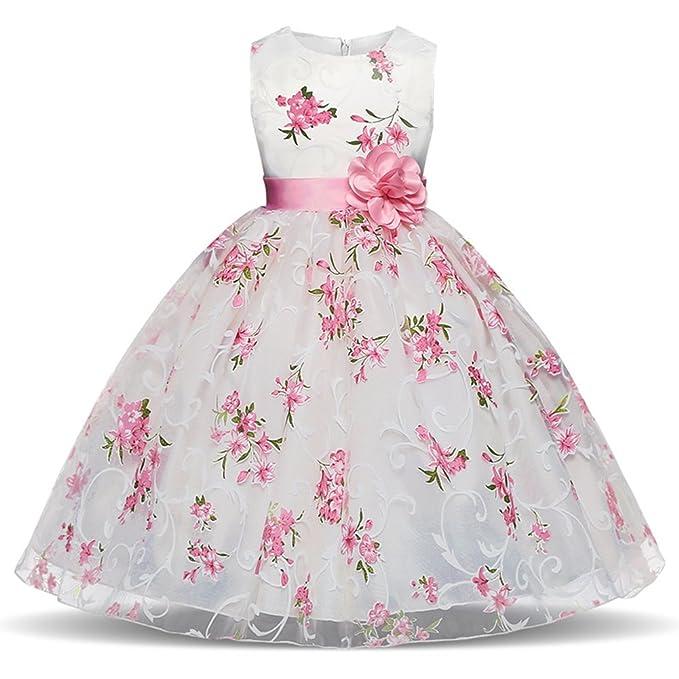 543f38ae92a6 Juleya Ragazze Bambina Abito da Principessa Senza Maniche Tutu Abiti da  Cerimonia Eleganti Principessa Partito Matrimonio Comunione Compleanno  Vestiti ...