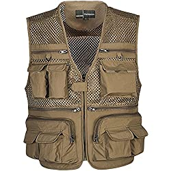 Zhusheng Men's Mesh Multi Pockets Photography Hunting Fly Fishing Outdoor Quick Dry Vest Breathable Waistcoat Jackets (Large(Asia Tag 3XL), Khaki)