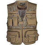 18b5c3f74b659 Zhusheng Mens Mesh Outdoor Work Fishing Travel Photo Vest with 16 Pockets  Khaki