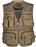 Zhusheng Men's Mesh Multi Pockets Photography Hunting Fly Fishing Outdoor Quick Dry Vest