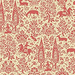 York Wallcoverings AP7449 Silhouettes Woodland Tapestry Toile Wallpaper, Coral/Beige