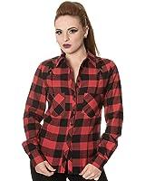 Banned ChequeRot Corset Shirt (Schwarz/Rot)