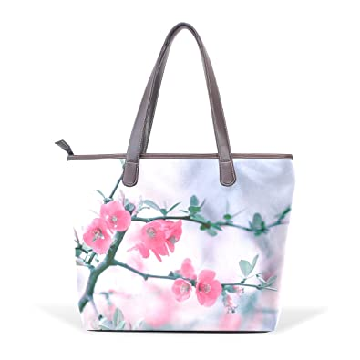 TIZORAX Flower Pink Pretty Flowers Handbags For Women Girls PU Leather  Shoulder Tote Bag