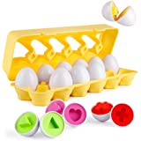Coogam Matching Eggs 12 pcs Set Color & Shape Recoginition Sorter Puzzle for Easter Travel Bingo Game Early Learning Educational Fine Motor Skill Montessori  1 2 3 Years Old Toddlers Baby Kids