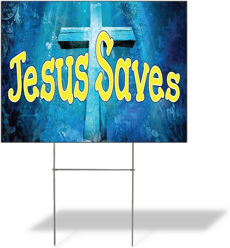 Weatherproof Yard Sign Jesus Saves Outdoor Advertising Printing Blue Lawn Garden Christian 18x12 Inches 1 Side Print