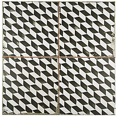 """SomerTile FPEKESPI Reyes Ceramic Floor and Wall Tile, 17.75"""" x 17.75"""", Black/White"""