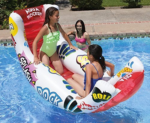 88 Red Aqua Rocker Fun Float Inflatable Swimming Pool Lounger by Swim Central (Float Fun Rocker)