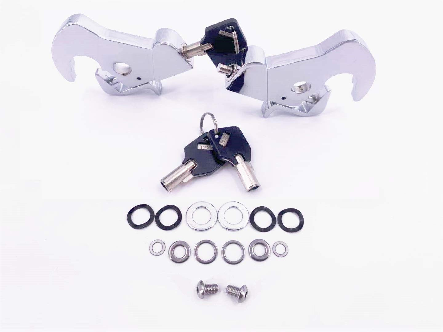 Locking Detachable Latch Kit Rotary Docking Latch Cam Lock Kit with Screw Caps for Harley Davidson HD Dyna Softail Sportster Touring Sissy Bar Luggage Rack Silver, 2 latches, 1 with keys