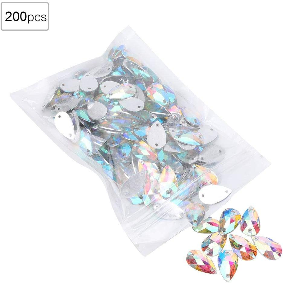 HEEPDD 200Pcs Crystal Bead Acrylic Resin Drip Sewing Rhinestone Buttons Crystal Beads Gemstone Loose Beads for DIY Shoe Clothes Decoration 7x12mm White