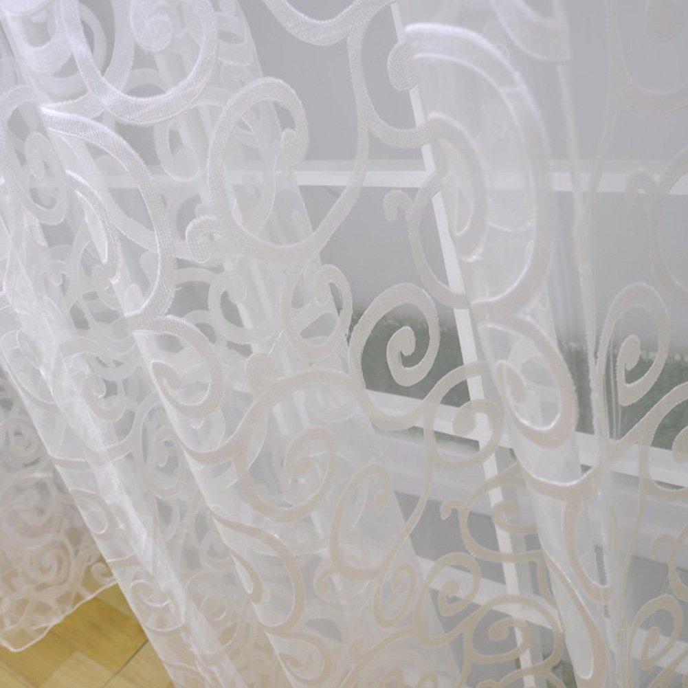 Rideaux D Exterieur Blanc Etosell Manteau Echarpe De Porte Fenetre Motif Floral Drape Rideau Panneau En Voile Transparent Tour Tissu 1m 39 4 Width X 2m 78 8 Length Jardin Hotelaomori Co Jp