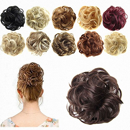 FESHFEN Hair Extensions Wavy Curly Messy Hair Bun Extensions Donut Hair Chignons Hair Piece Wig Hairpiece Scrunchy Scrunchie Hair Bun Updo Hairpiece Hair Ribbon Ponytail Extensions -4# Medium (Fake Wigs)