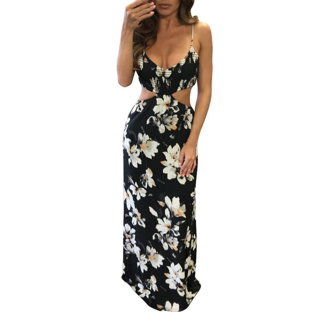 Kimloog Women Halter V-Neck Sleeveless Hollow Backless Bodycon Slim Dress Party Long Maxi Dresses (L) by KMG