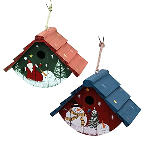 Christmas Birdhouses.Waroom Home Birdhouse Set Of Two Traditional Cedar Wren House Decorative Hand Painted Bird House Christmas Ornaments 7inch H X 9 5inch L X 5 5inch W