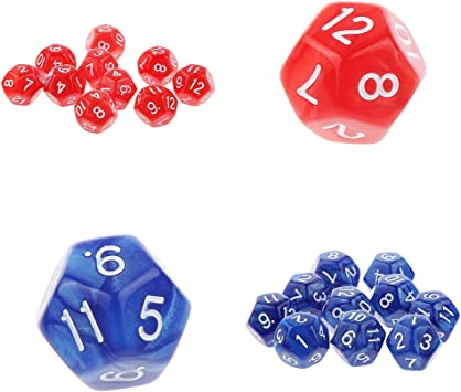 Hellery 2 Pack 20pcs Dados De 12 Caras D12 Juego De Dados De Juegos RPG Blanco Y Negro - Rojo y Azul: Amazon.es: Juguetes y juegos