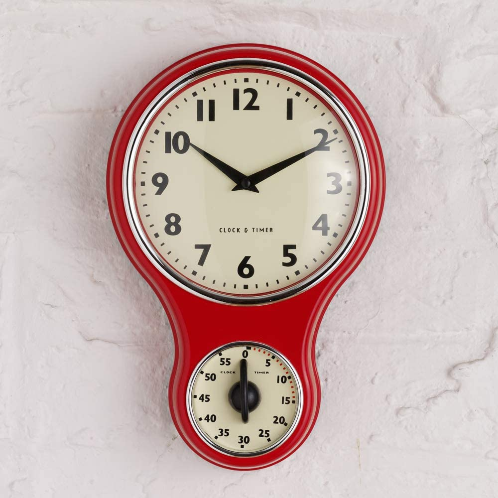 Red Retro Kitchen Clock & Timer