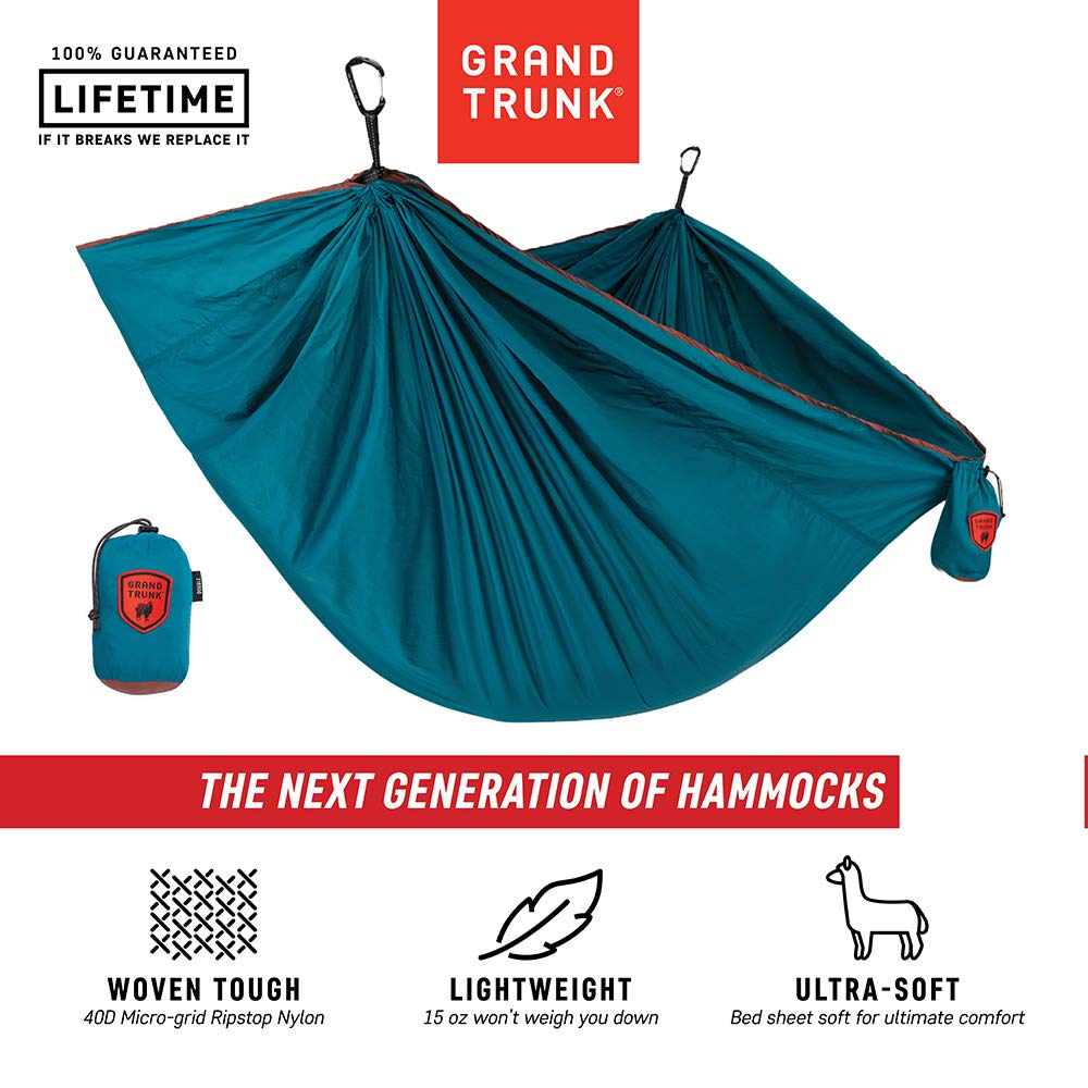 Grand Trunk Trunk Tech Double Hammock, Deep Teal/Maroon: Strong, Light, and Portable - Perfect for Outdoor Adventures, Backpacking, and Festivals by Grand Trunk