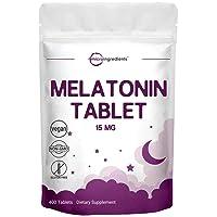 Micro Ingredients Advanced Sleep Melatonin 15mg, 400 Tablets, Nighttime Sleep Aid for More Relaxation, Premium Melatonin Sleep Aid, Non-GMO and Vegan Friendly