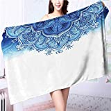 Miki Da Quick dry bath towel Islamic ative Elements Oriental Print Blue White Absorbent Ideal for everyday use L39.4 x W19.7 INCH
