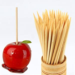 6'' Bamboo Skewers Sticks - 5mm Thickness Semi Pointed Wooden Sticks for Caramel Candy Apple, Chocolate Fountain, Shish Kabob, Bbq, Appetiser, Corn Cob - 100 Pcs