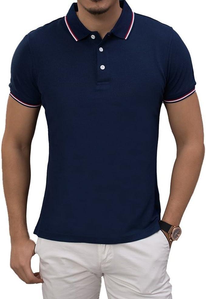 ZENGVEE Polo Hombre Camisa Casual de Manga Corta Algodón Polos de ...