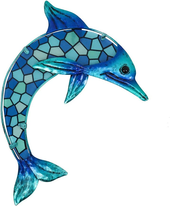 HONGLAND Metal Dolphin Wall Decor Blue Mosaic Glass Art Sculpture Hanging Decorations for Home, Garden, Bedroom, Indoor, Outdoor