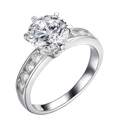 282ct 14k white gold enhanced diamondvs flare enagagement rings for women wedding - Engagement Vs Wedding Ring
