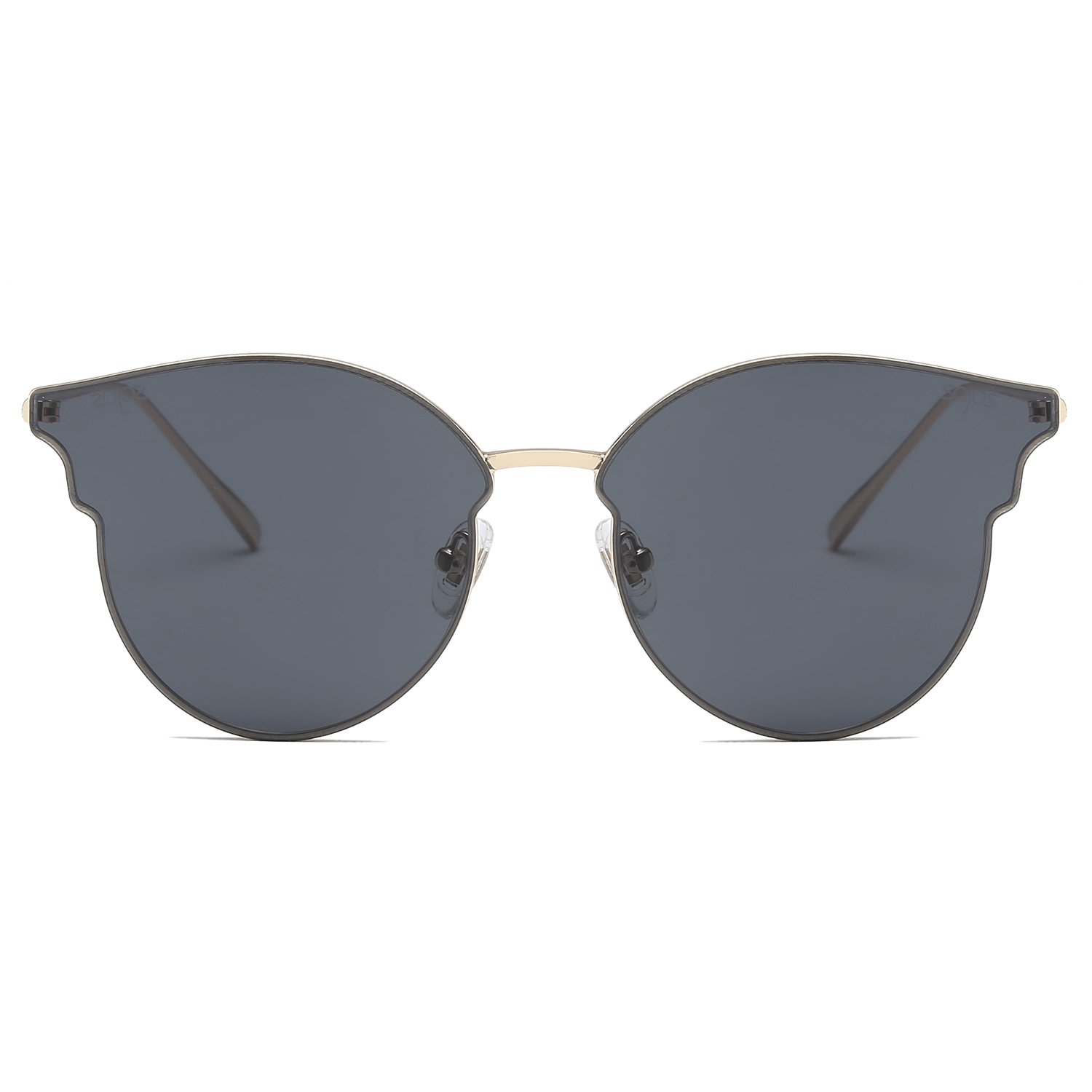 SOJOS Fashion Cateye Sunglasses for Women Flat Lens SJ1070 with Gold Frame/Grey Lens by SOJOS