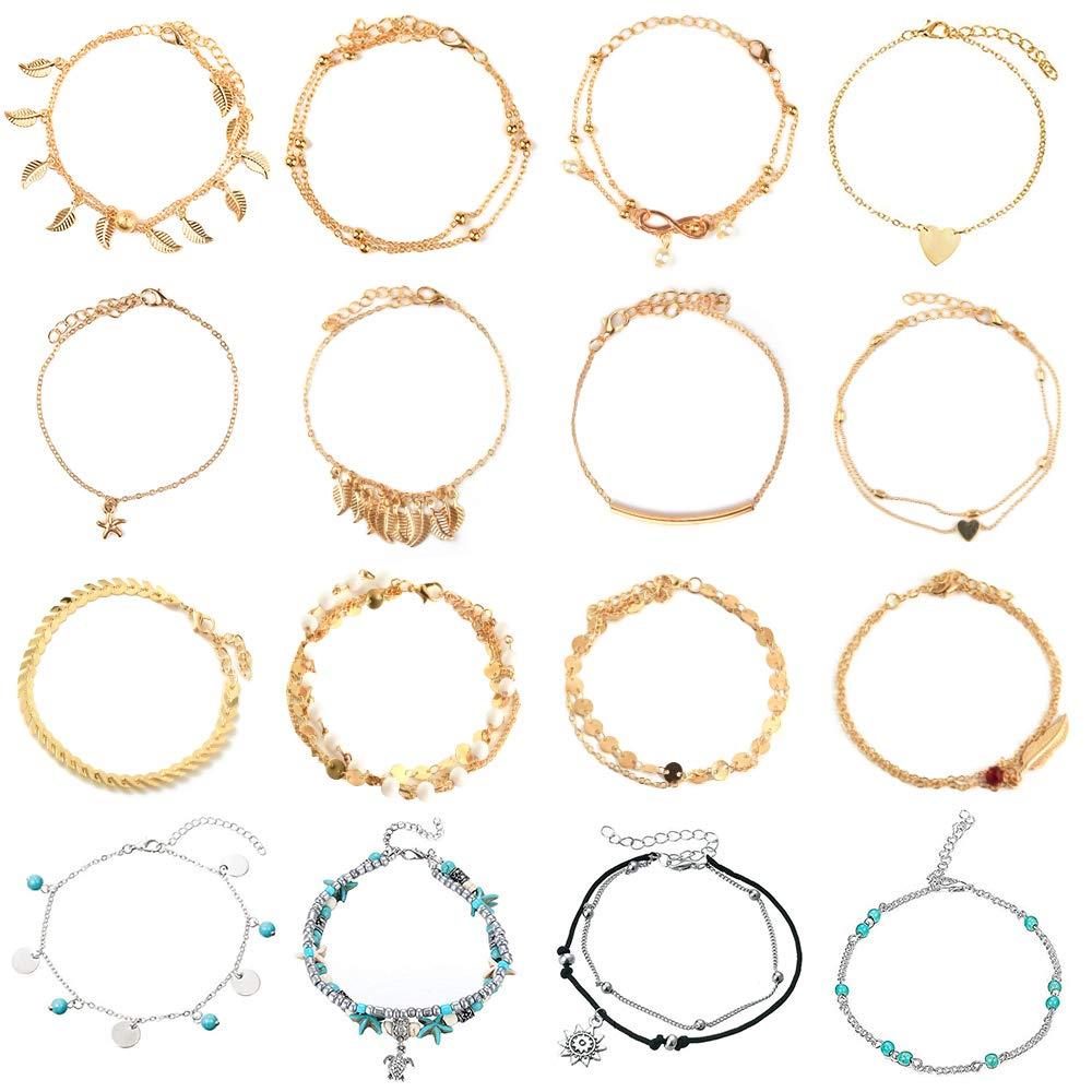 FEPITO 16Pcs Bracelets De Cheville R/églable Beach Anklets Pied Bijoux Pour Femmes Filles