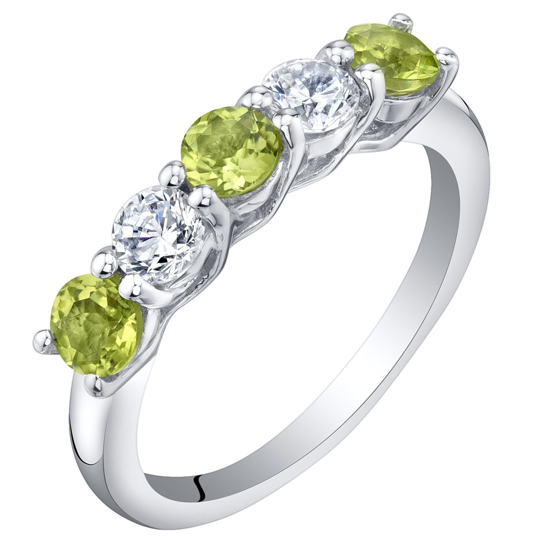 Sterling Silver Peridot Five-Stone Trellis Ring Band Size 7