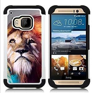 - Lion abstract Majestic Cat/ H??brido 3in1 Deluxe Impreso duro Soft Alto Impacto caja de la armadura Defender - SHIMIN CAO - For HTC ONE M9