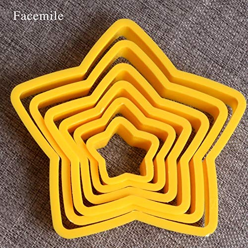 1 Set 6pcs/set Star Shaped plastic Gift mold cookie cutter biscuit stamp fondant cake decorating tools 03023