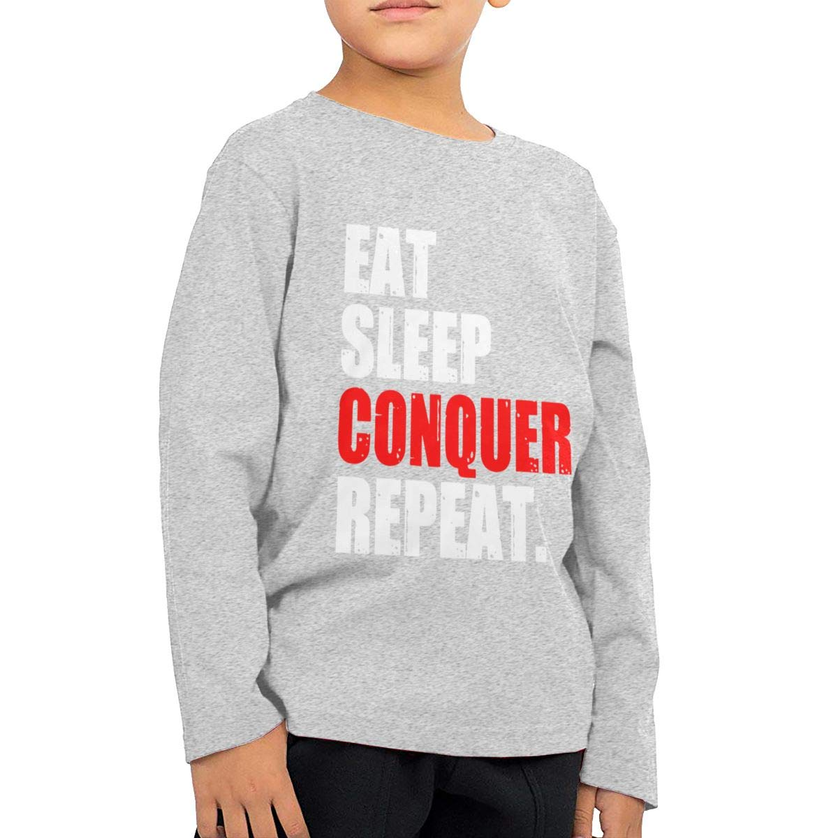 Eat Sleep Conquer Repeat Youth Boys Long Sleeve T-Shirt Cotton