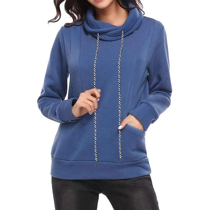 ASHOP Ropa Mujer, Sudaderas Mujer Cortas Blusas Elegantes con Encaje Tops Deporte (Azul,