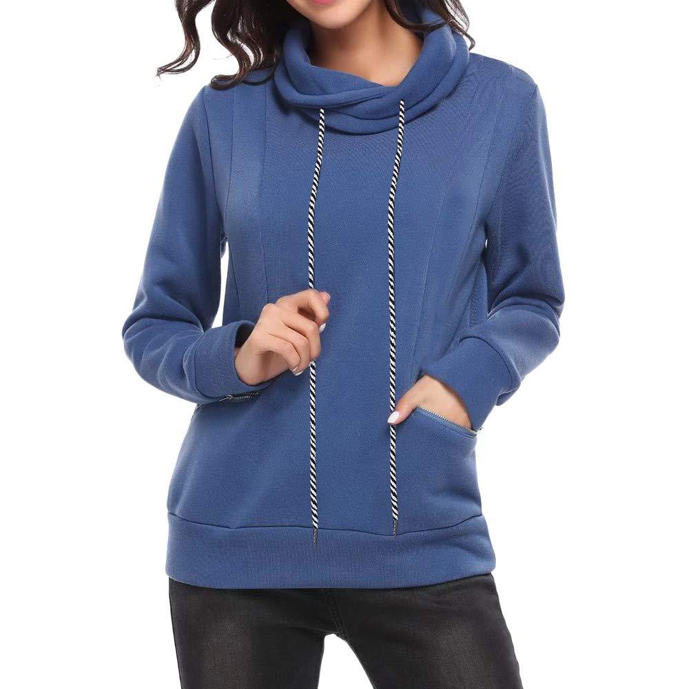 YANG-YI Women Casual Stand Collar Long Sleeve Zipper Pocket Pullover Sweatshirt