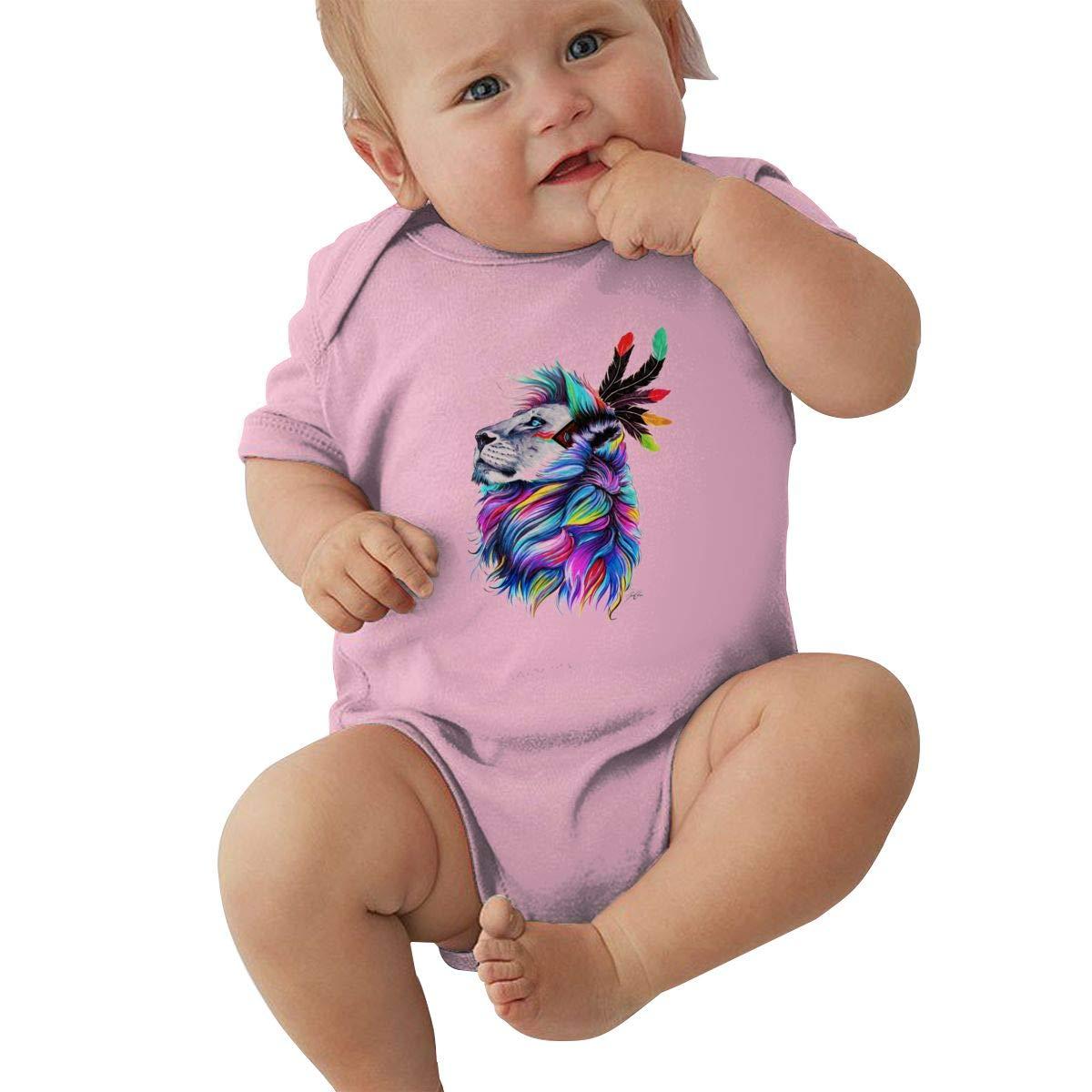 Dfenere Multicolored Lion Graphic Newborn Baby Short Sleeve Bodysuit Romper Infant Summer Clothing Black