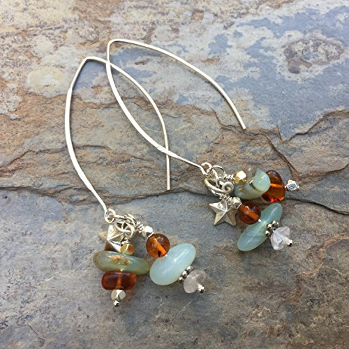 Blue Opal and Amber Cluster Earrings with Sterling Silver Hoops, 2.5 inches long