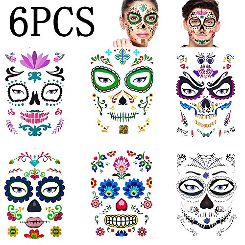 Last Minute Scary Halloween Makeup (Floral Day of the Dead Sugar Skull Temporary Face Tattoo, Red Roses Day of The Dead Makeup Tattoo Stickers Props for Halloween, Masquerade and Parties, 6)