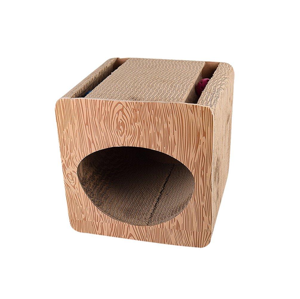 Yuncai Animale Domestico Gatto Giocattolo da Cura Degli Artigli Piazza Carta Ondulata Tiragraffi Cartone con Tunnel Vuoto Come Immagine