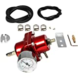 Hose Red Universal Aluminum Adjustable 1-140 Psi Fuel Pressure Regulator+Gauge