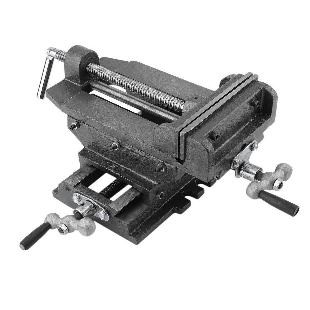 OUTAD Maschinenschraubstock 2-Achsen Schraubstock fü r Kreuztisch Frä stisch Frä s Koordinaten Tisch Werkbank (150mm (6 zoll))
