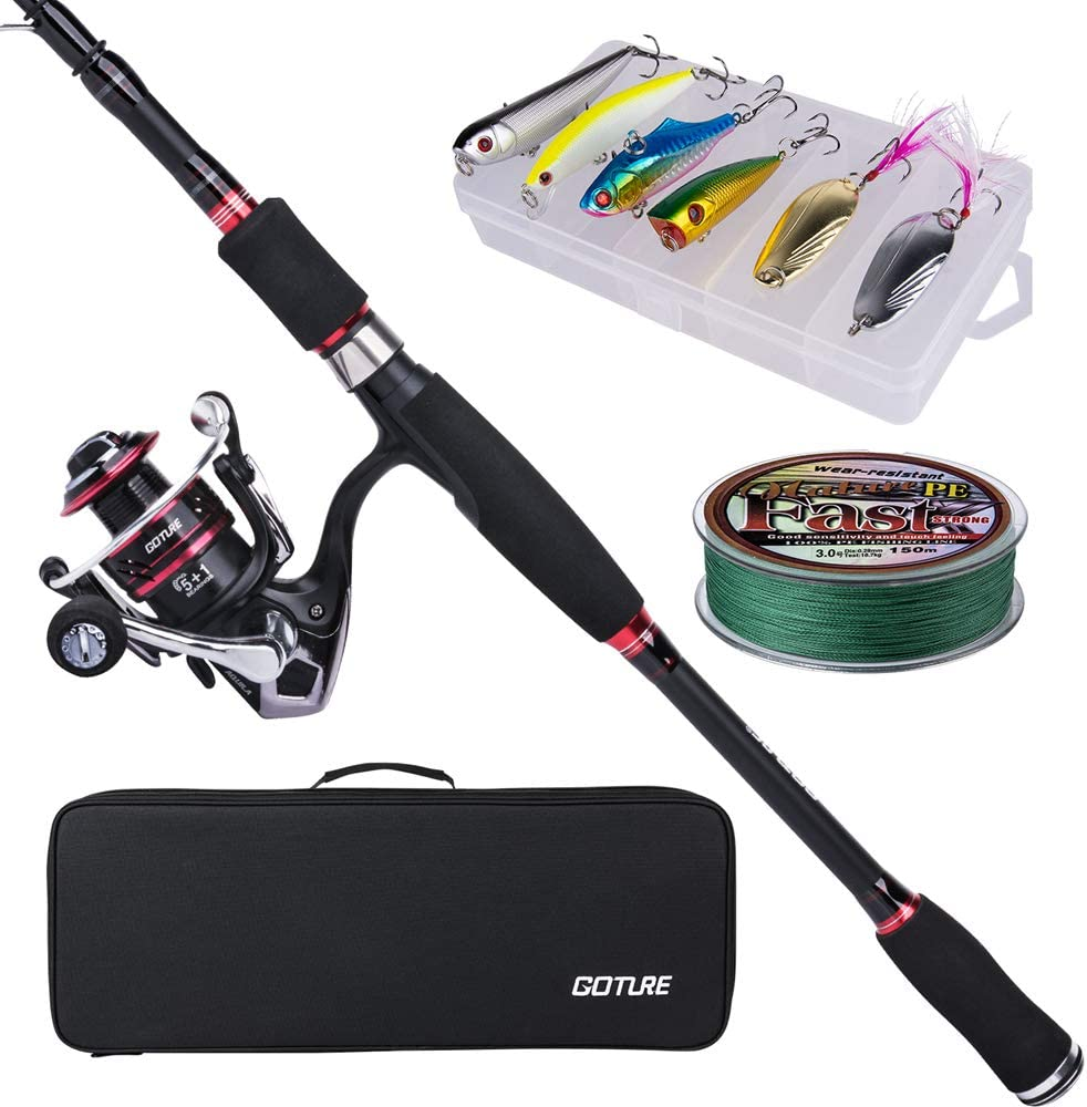 Goture Telescopic Fishing Rod Lightweight Carbon Fiber Spinning Casting Collapsible Poles /& Rod with Reel Combo Fishing Rod Kit for Freshwater Saltwater