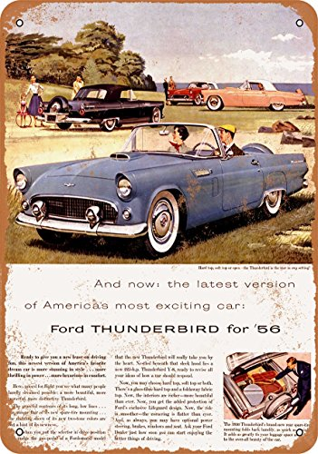 Wall-Color 7 x 10 Metal Sign - 1956 Ford Thunderbird Convertible - Vintage Look - Ford Thunderbird Color