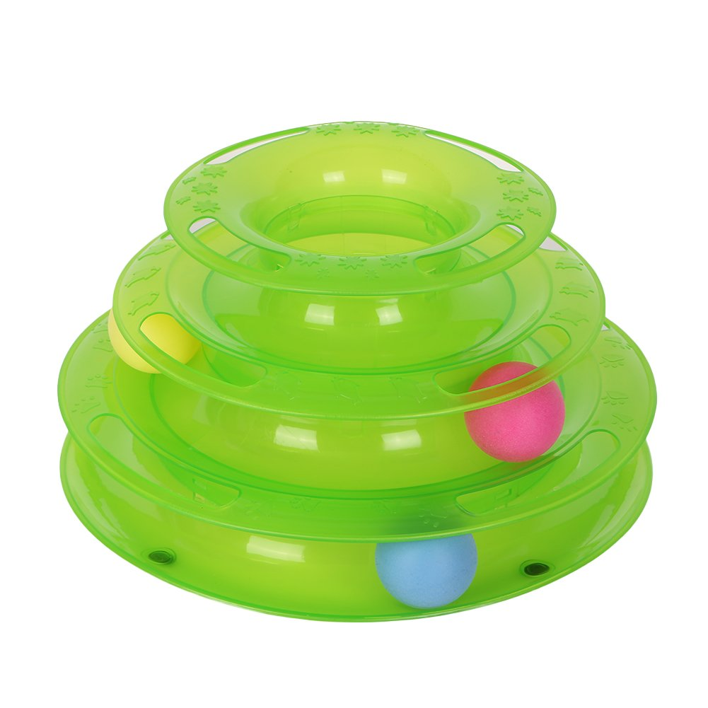 Sizet Three Layers Cat Intelligence Entertainment Cat Toys Amusement Plate with Colorful Balls