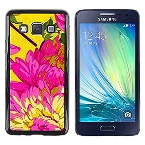 rígido protector delgado Shell Prima Delgada Casa Carcasa Funda Case Bandera Cover Armor para Samsung Galaxy A3 SM-A300 /Yellow Pink Floral Spring Petal/ STRONG
