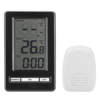 DGTRHTED Termómetro para Exteriores - LCD inalámbrico Digital Escritorio de Mesa Reloj para Exteriores Medidor de