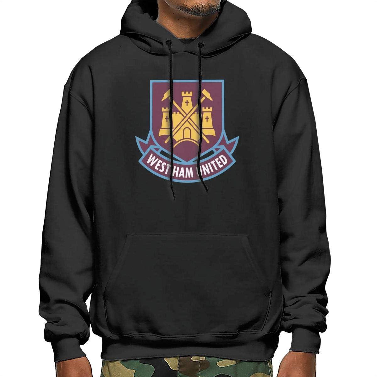 GanCheng West Ham United Football Club Logo Hoodies Black for Mens Top Sweatshirt